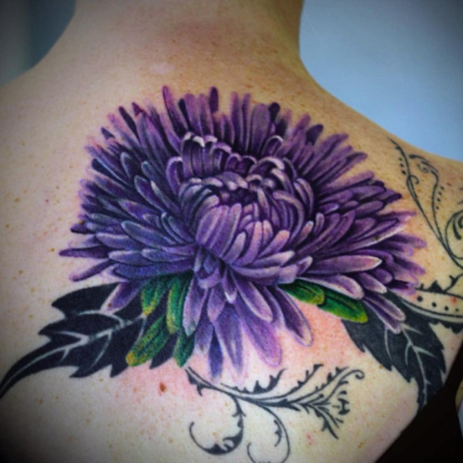 Chrysanthemum Purple Back Tattoo