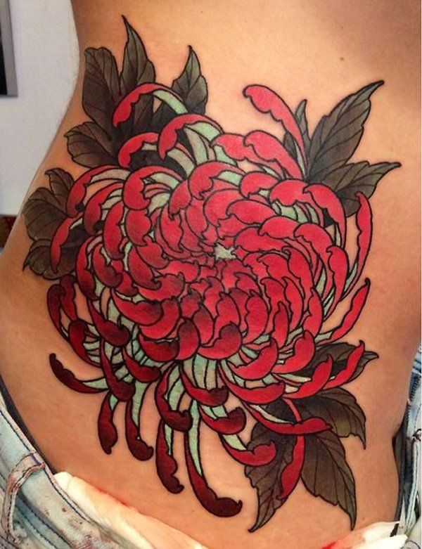 Chrysanthemum Red Back Tattoo