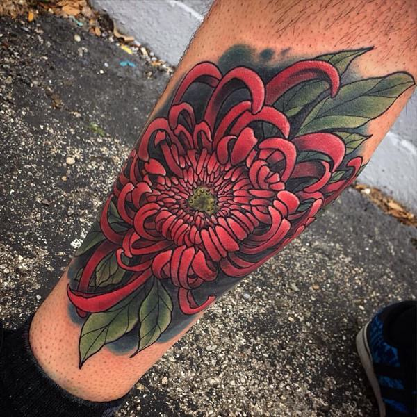 Chrysanthemum Red Leg Tattoo