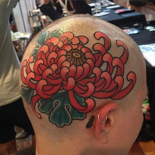 Chrysanthemum head tattoo