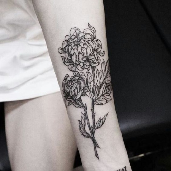 Chrysanthemum with stem arm tattoo