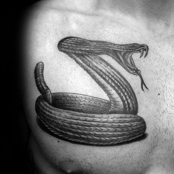 Coiled Snake Chest Tattoo