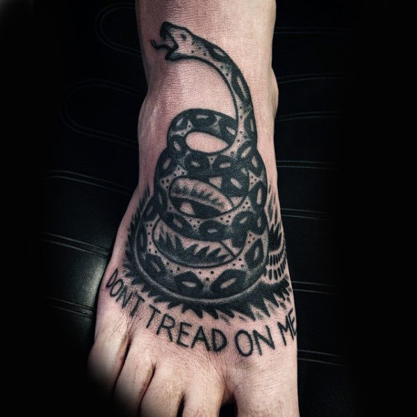 Coiled Snake Foot Tattoo