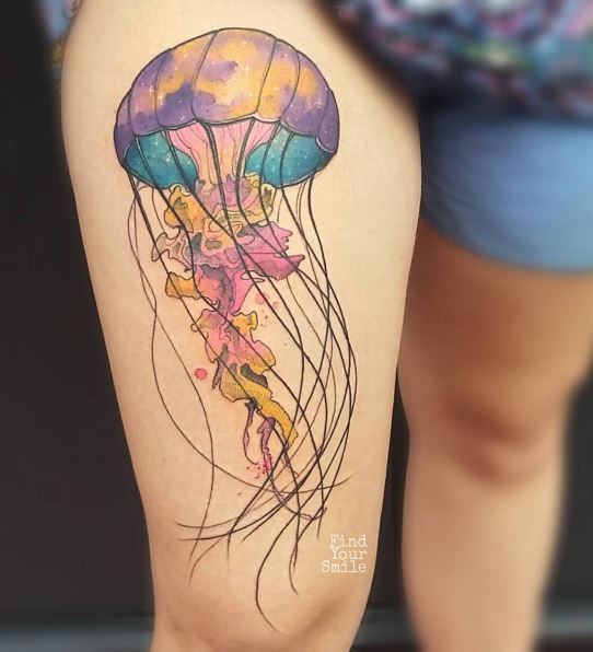 Colorful Jellyfish Tattoo