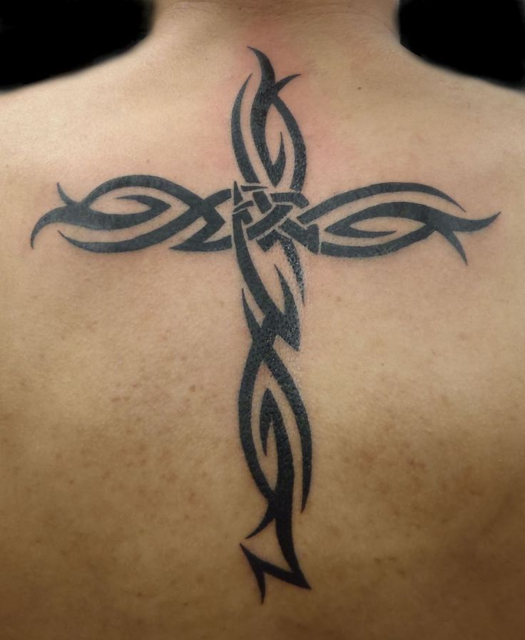 Cross tattoo men back 3