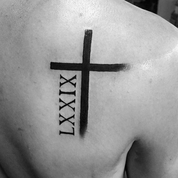 Cross tattoo men back 5