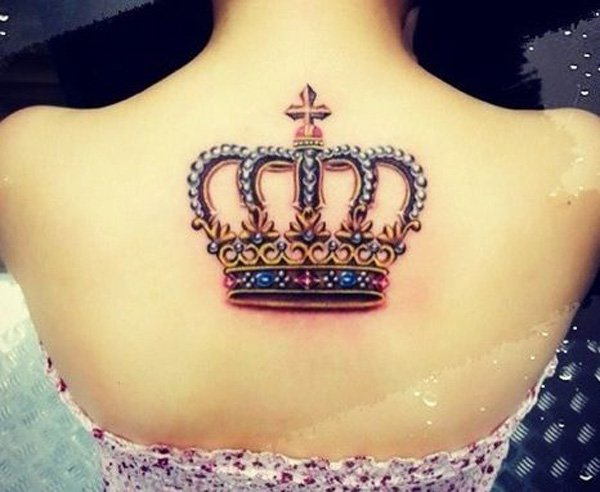 Crown Colored Back Tattoo