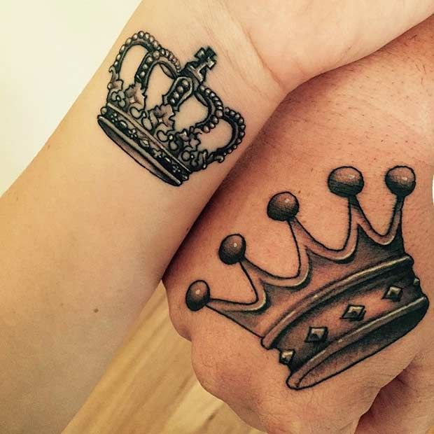 Crown couple wrist hand tattoo