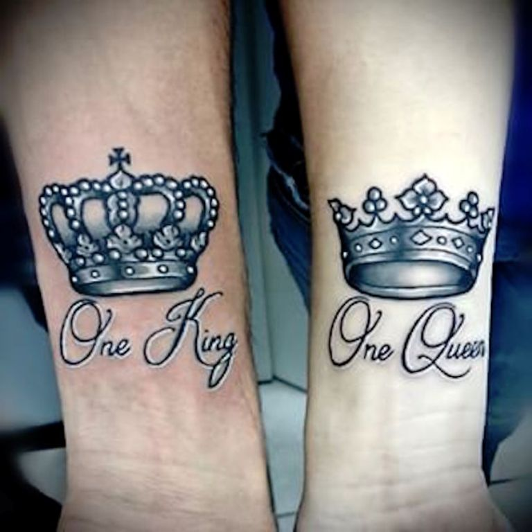 Crown couple wrist tattoo