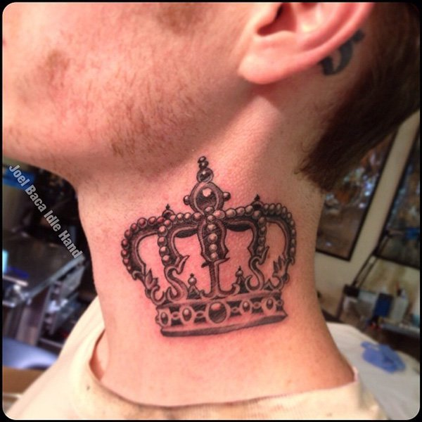 Crown neck tattoo