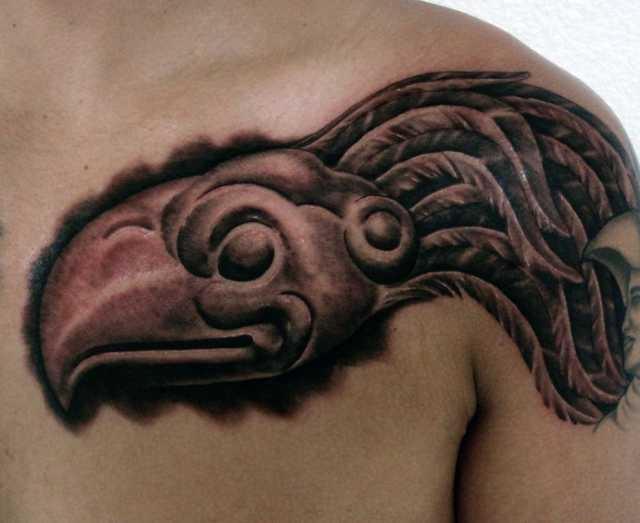 Aztec Eagle Head Chest Tattoo