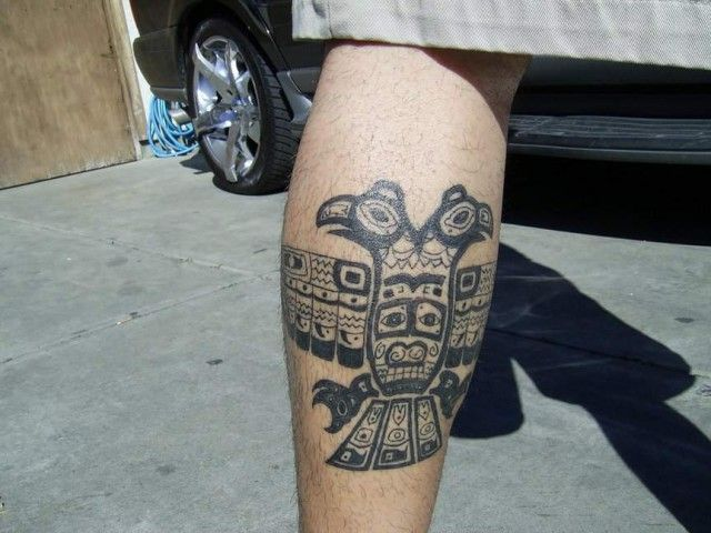 Aztec Eagle Leg Tattoo