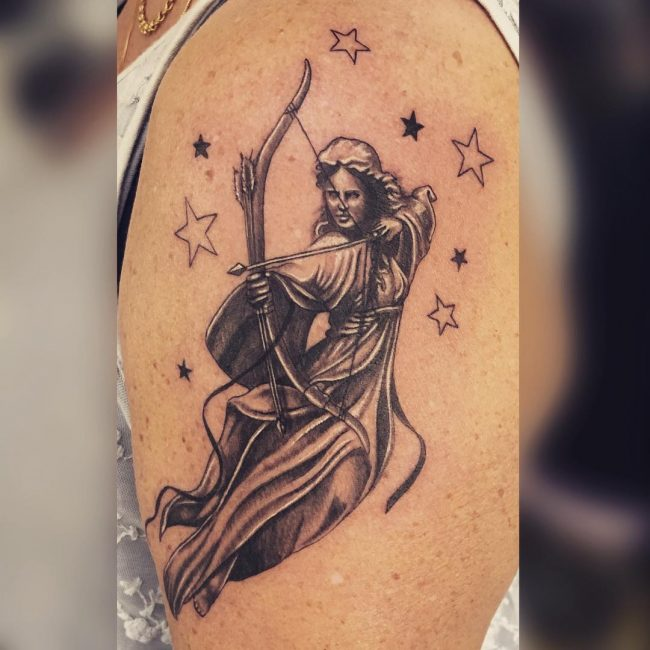 Female Archer Shoulder Tattoo