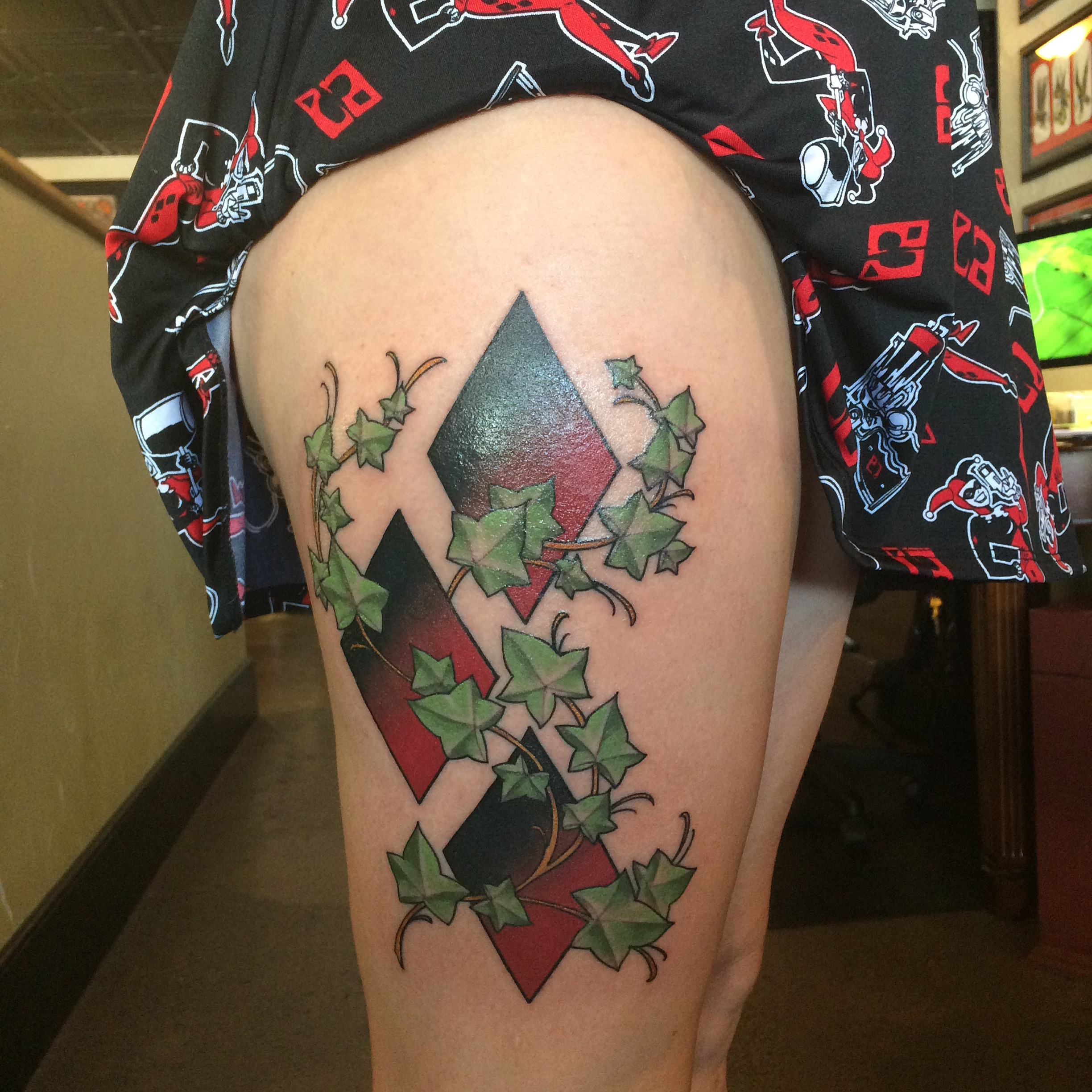 Harley Quinn Large Symbol Thigh Tattoo