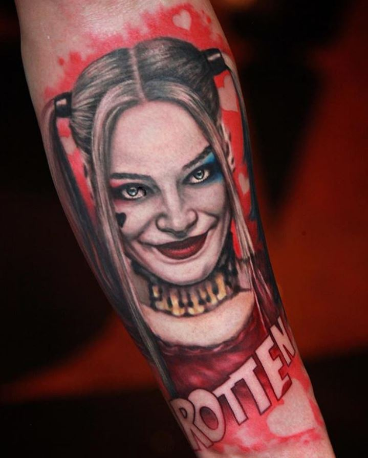 Harley Quinn Red Arm Tattoo