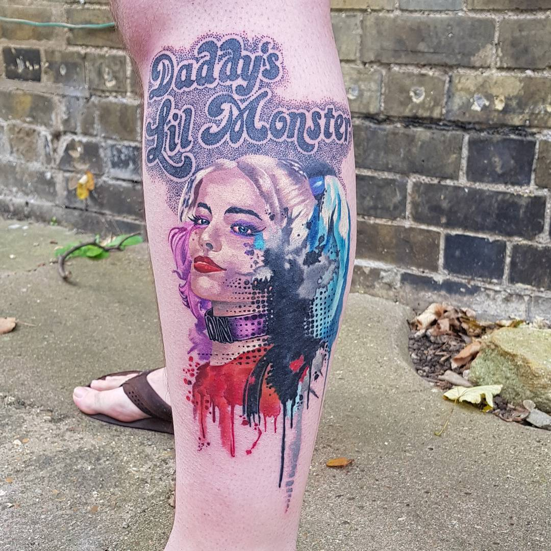 Harley Quinn Street Style Leg Tattoo