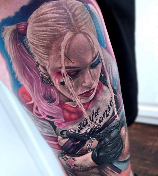 Harley Quinn Suicide Squad Detailed Sleeve Tattoo