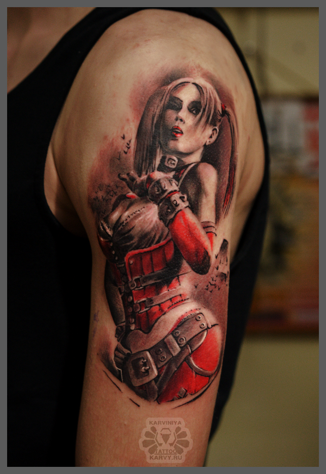 Harley Quinn detailed red tattoo