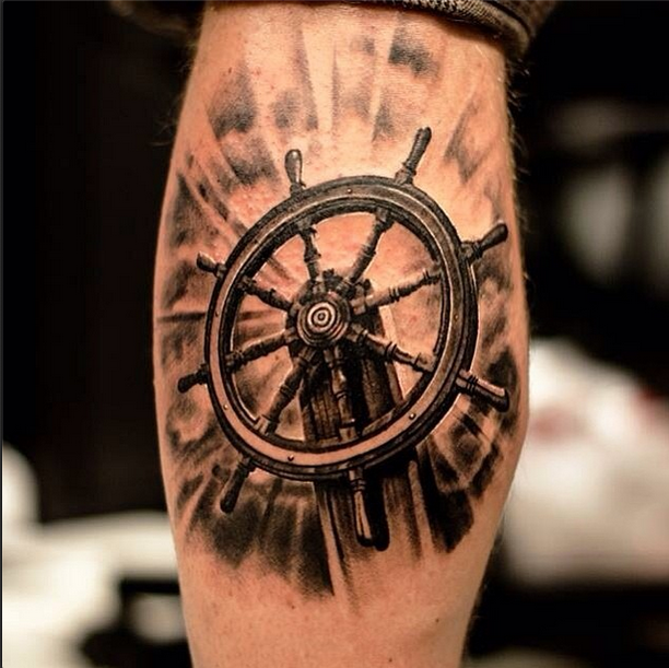 Helm Detailed Leg Tattoo
