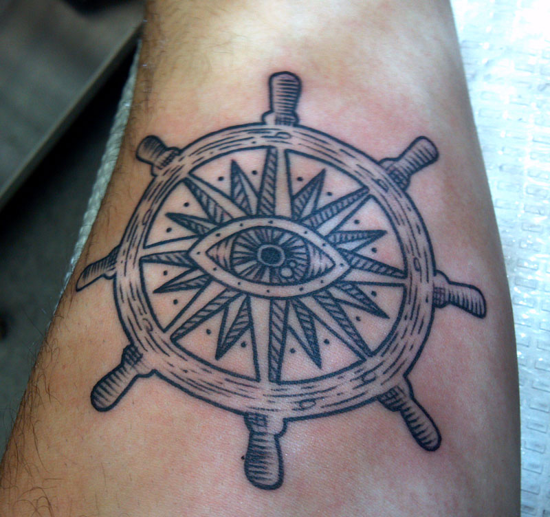 Helm Eye Leg Tattoo