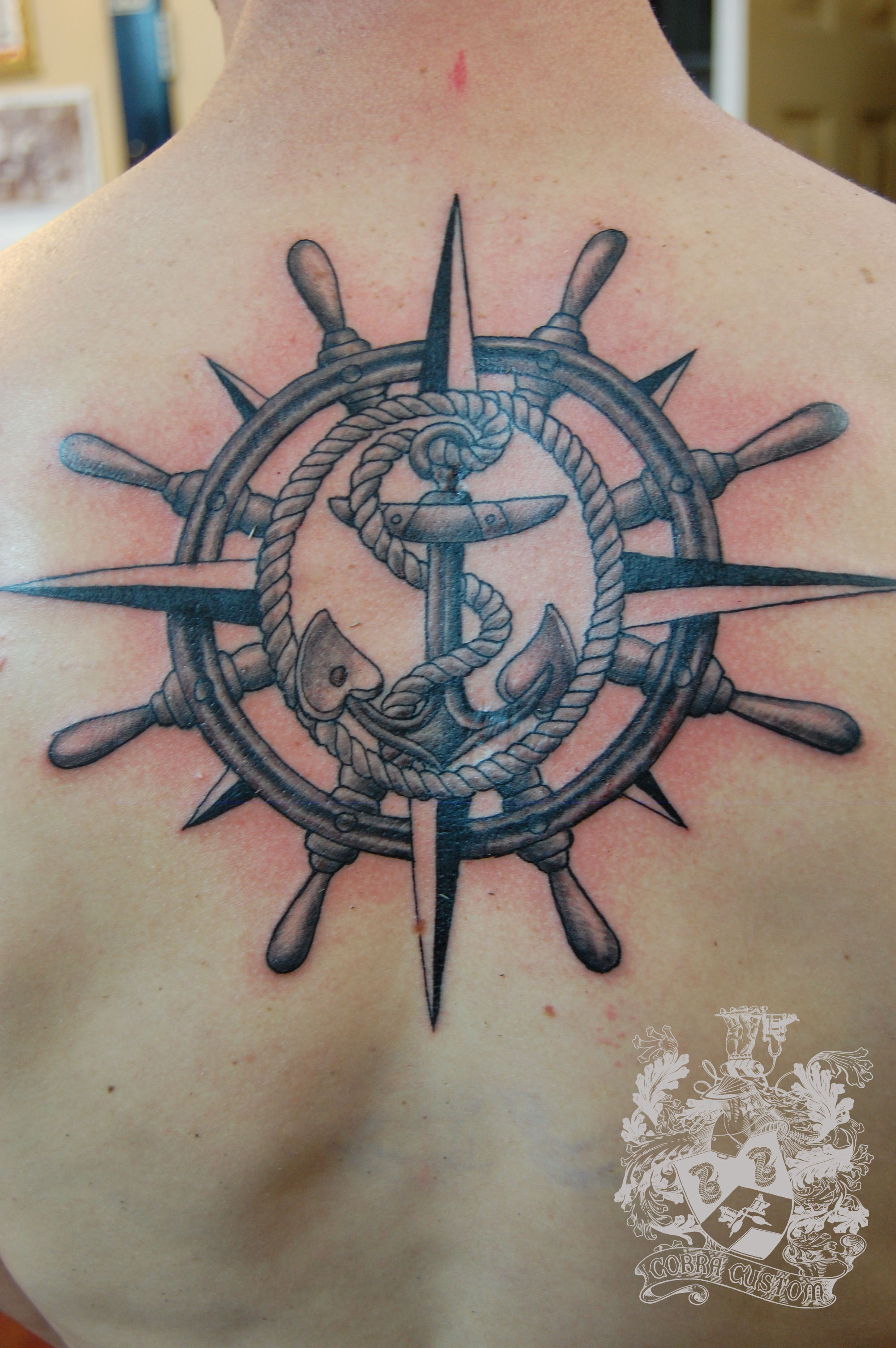 Helm Nautical Back Tattoo