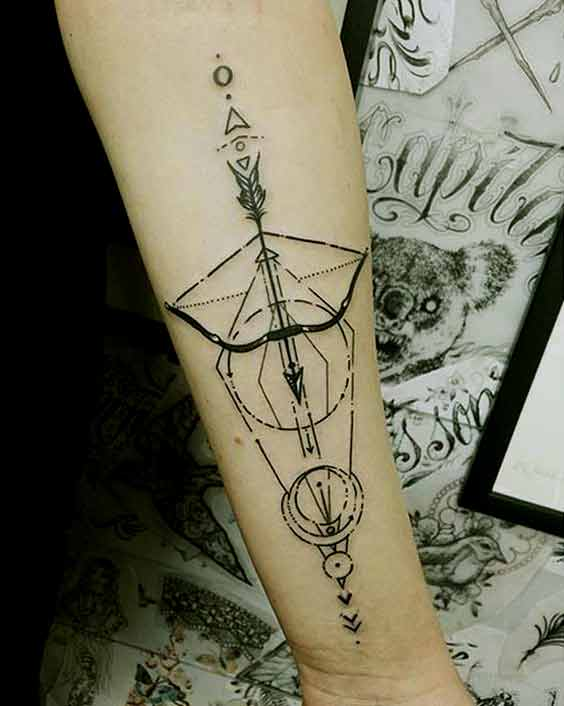 Intricate Bow And Arrow Arm Tattoo