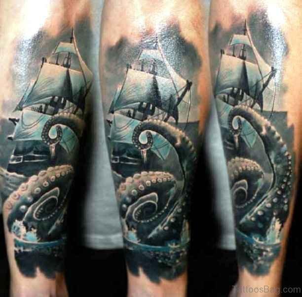 Kraken Ship Arm Tattoo 1