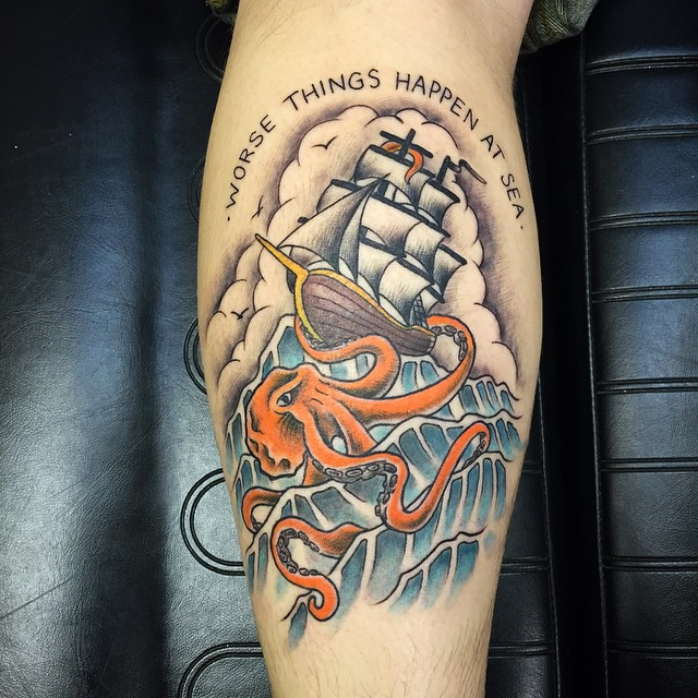 Kraken Ship Leg Tattoo 2