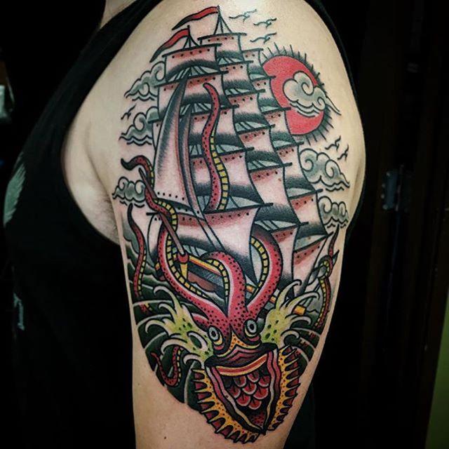 Kraken Ship Shoulder Tattoo 1