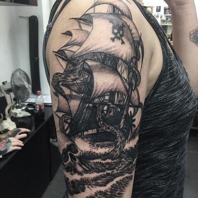 Kraken Ship Sleeve Tattoo 2