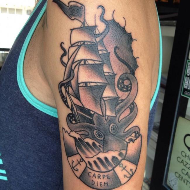 Kraken Ship Sleeve Tattoo 4