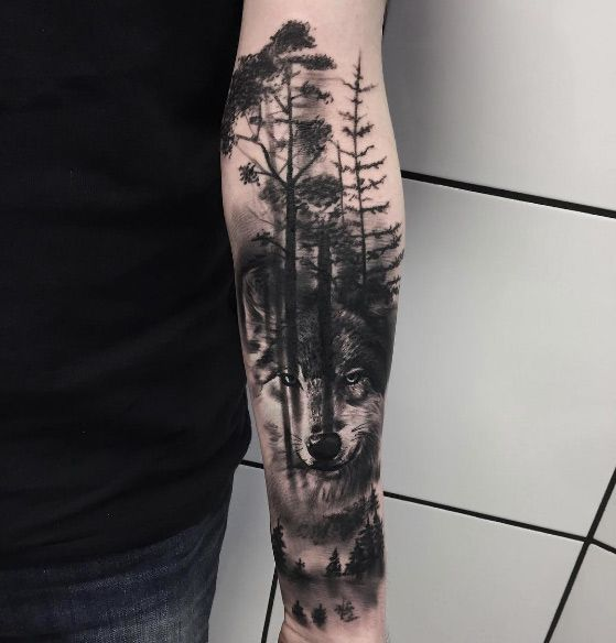 Men Wolf Tattoo Arm Forest