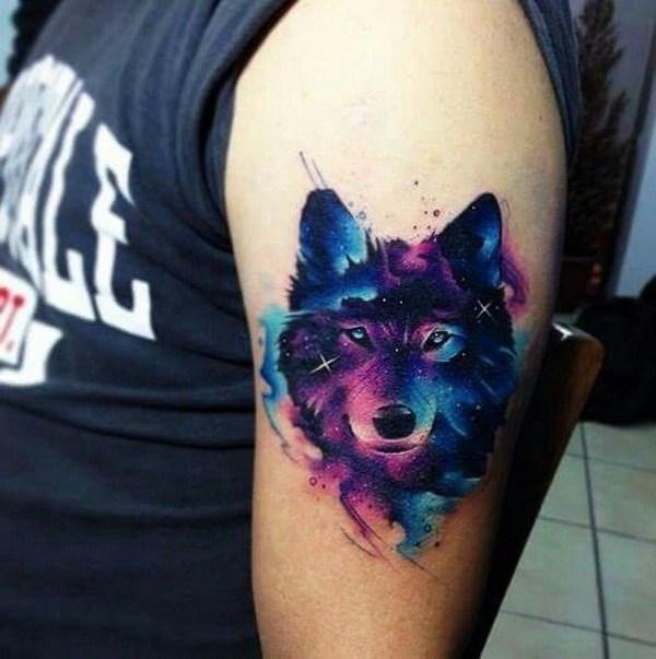 Men Wolf Tattoo Galaxy