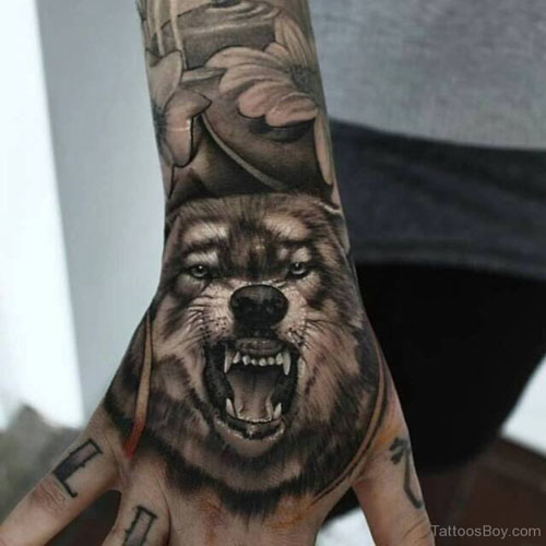 Men Wolf Tattoo Hand