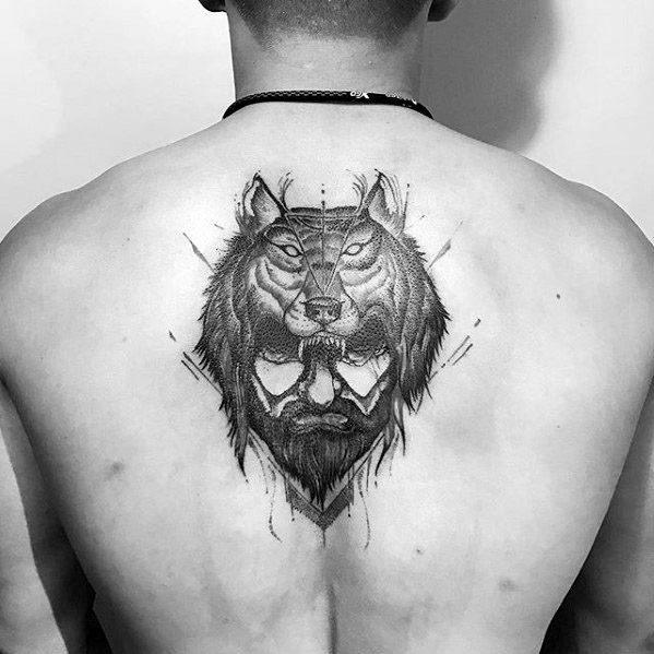 Men Wolf Tattoo Helmet Man
