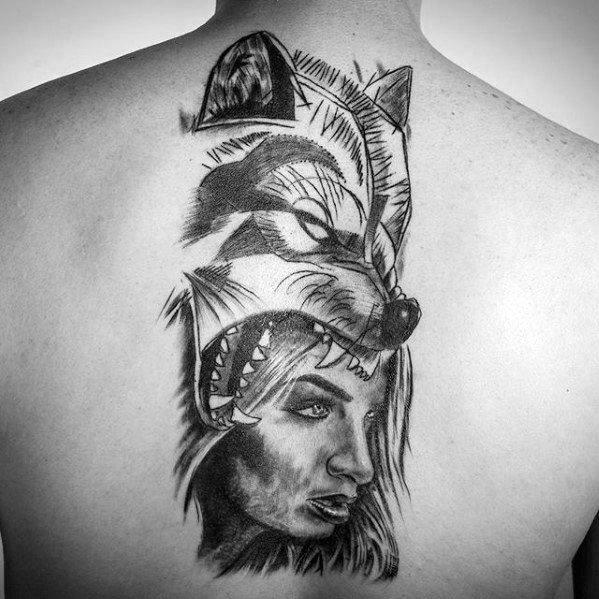 Men Wolf Tattoo Helmet Woman 2