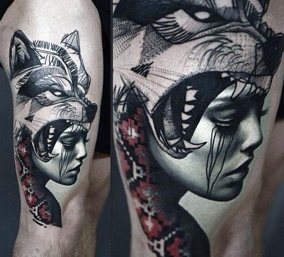 Men Wolf Tattoo Helmet Woman