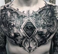 Men Wolf Tattoo Large Chest