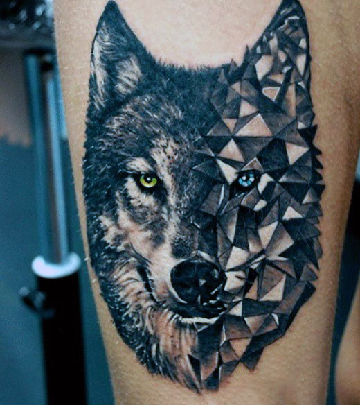 Men Wolf Tattoo Low Poly