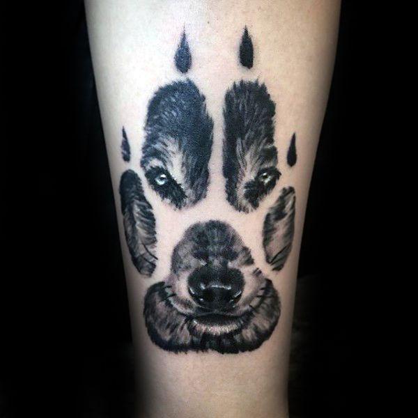 Men Wolf Tattoo Paw Wolf
