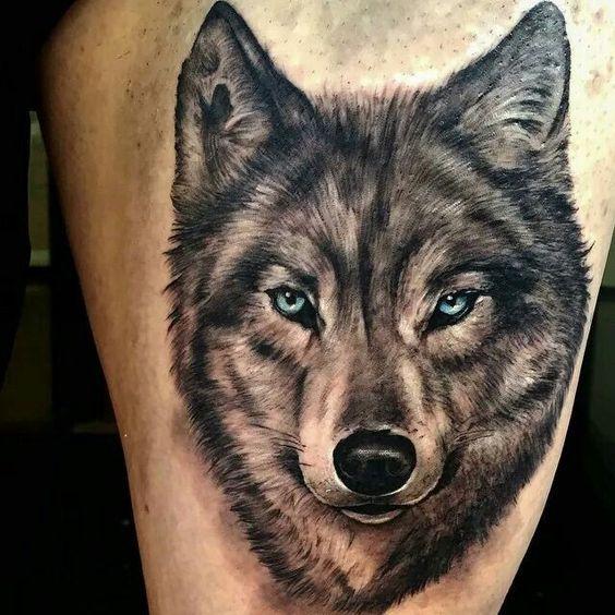 Men Wolf Tattoo Realistic