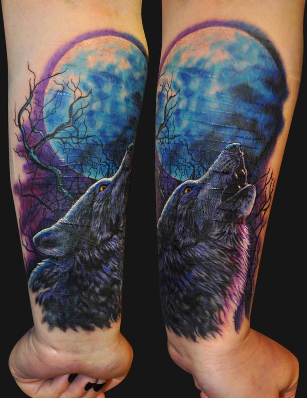 Men Wolf Tattoo Watercolor Howl