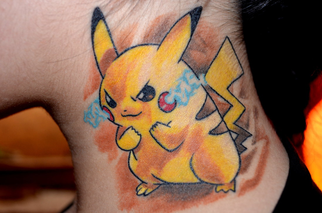 Pikachu Neck Tattoo