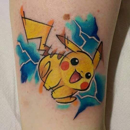 Pikachu Watercolor Tattoo