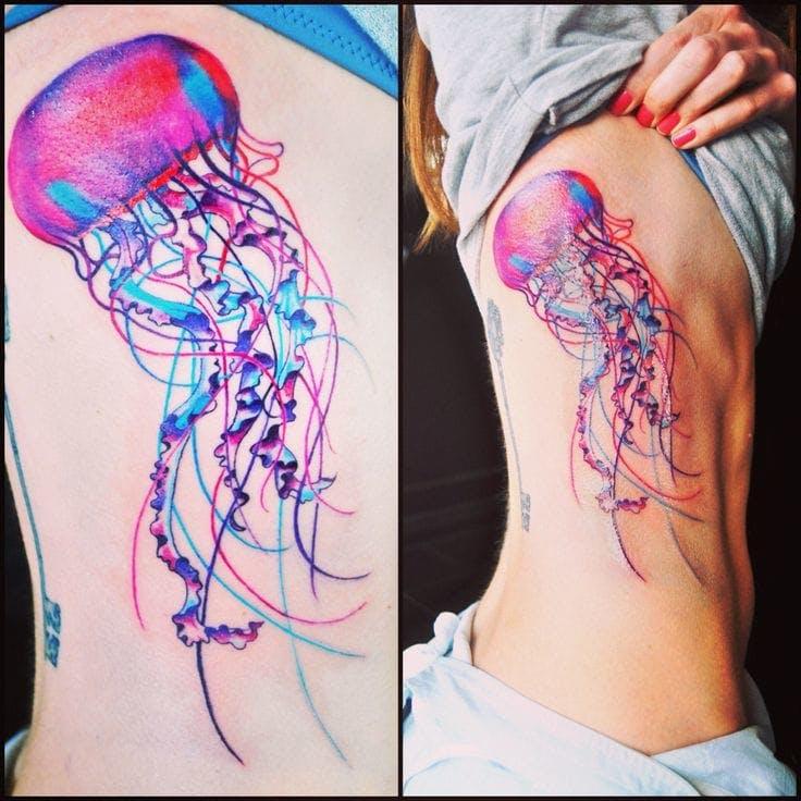 Pink Watercolor Jellyfish Ribcage Tattoo