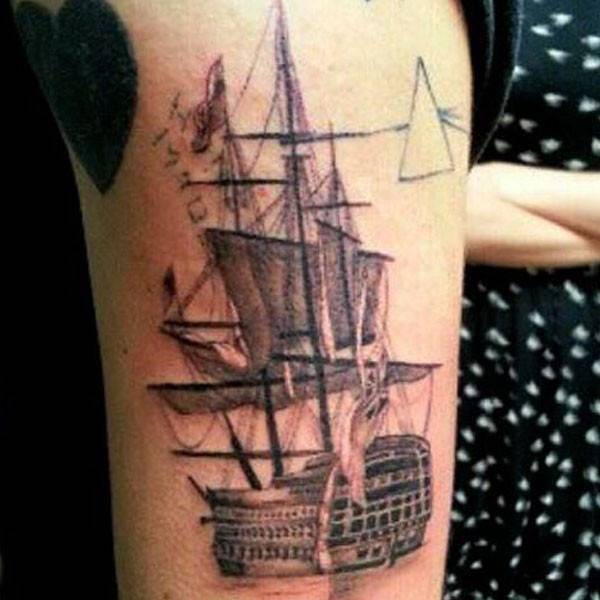 Pirate Ship Arm Tattoo