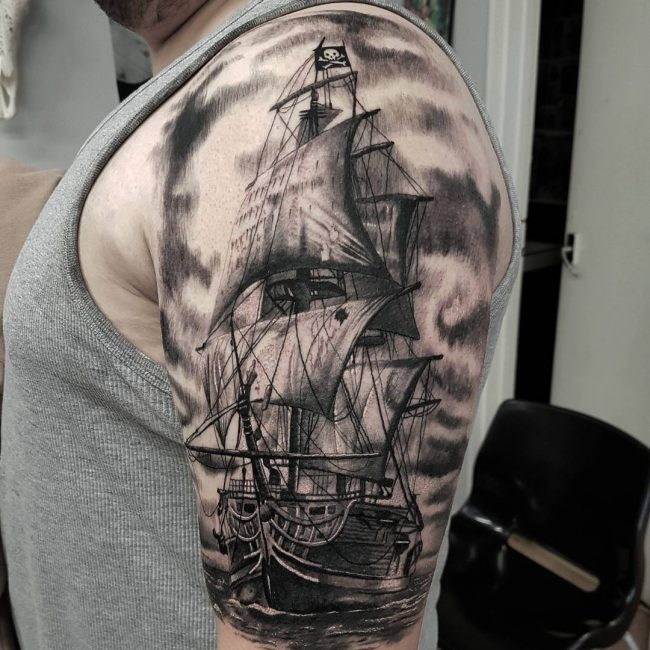 Pirate Ship Detailed Sleeve Tattoo