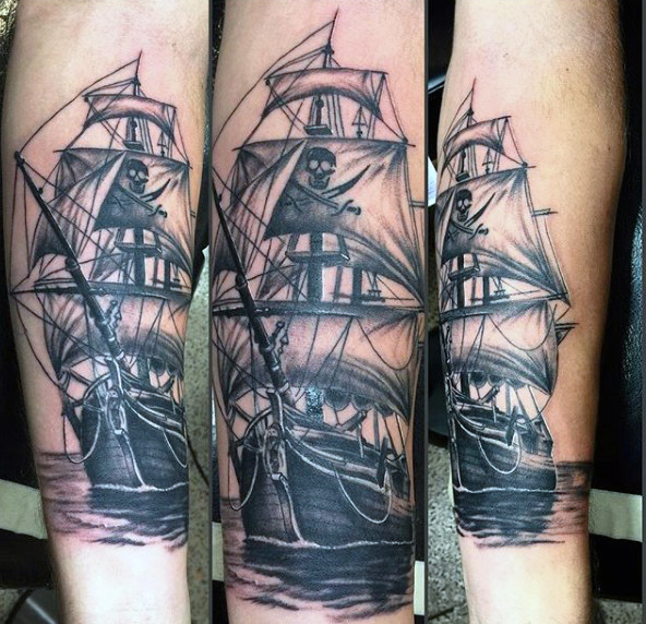 Pirate Ship Ghost Arm Tattoo