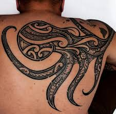 Tribal Kraken Back Tattoo