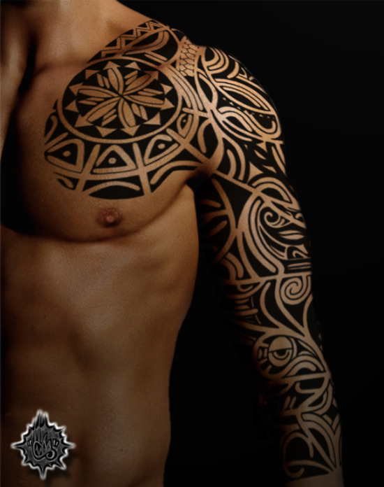 Tribal Tattoo Full Sleeve Maori
